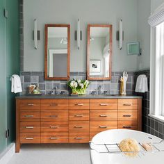 Bathroom vanity designs come in many options. You should choose the best one for you. For the myriad options of vanity bathroom, think about your needs and the space in the bathroom. So you will choose the best one to complete your bathroom. Bathroom Vanity Designs, Best Bathroom Vanities, Small Bathroom, Bathroom Ideas, Bathroom Remodeling, Master Bathroom, Bathroom Green, Wooden Bathroom, Vanity Bathroom