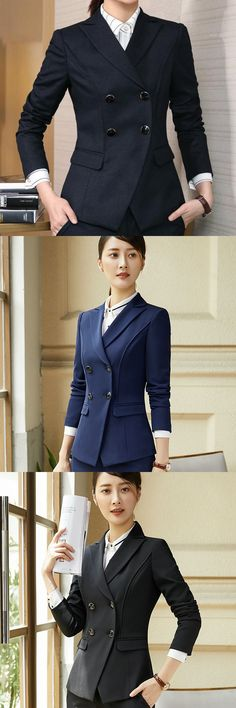 bee097bc3cca1 2017 Autumn Long Sleeve Double Breasted Blazer Suit Womens Coat Blazers  Formal Office Lady Tops Notched
