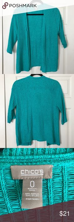 """CHICO'S Size 0 Turquoise Ribbed Cardigan Sweater CHICO'S Size 0 Turquoise Ribbed Cardigan Sweater.   Open style, no closure. The pictures don't do this Sweater justice.  The color is absolutely gorgeous.   Approximately 25"""" from top center back to hem   From smoke free home  Discount for bundling.  Make an offer! ❤️ Chico's Sweaters Cardigans"""