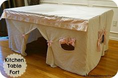 Make a fort with old sheets and a kitchen table. Projects For Kids, Diy For Kids, Crafts For Kids, Diy Crafts, Kids Fun, Old Sheets, Tent Fabric, Table Tents, Teepee Kids