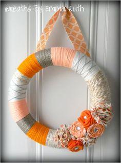 Orange, Grey, and Peach Floral Yarn Wreath from Etsy.com: WreathsByEmmaRuth