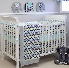 This adorable, chevron baby bedding + decor from @sweetkylababy is perfect in a gender neutral nursery! #PNpartner