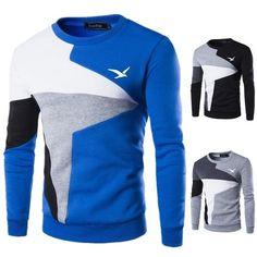 SHUJIN Autumn Slim Fit Sweatshirts Men 2018 New Fashion Long Sleeve Round Neck Pullover Casual Patchwork Hip Hop Sweatshirt. Winter Sweaters, Long Sweaters, Style Casual, Men Casual, Casual Tops, Long Sleeve Sweater, Men Sweater, Sweater Shirt, Pullover Sweaters