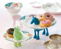 plastic animals and tea cup and plates
