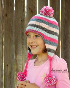 Free pattern - Children's Knit Ear Flap Hat Pattern by Everyday Art Knitted Hats Kids, Knitting For Kids, Knitting For Beginners, Baby Knitting Patterns, Loom Knitting, Free Knitting, Hat Patterns, Child Knit Hat Pattern, Children's Knitted Hats