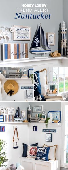 We're so glad Nantucket decor is trending! It's one of our favorite styles. Nautical Interior, Nautical Home, Nantucket Decor, Love Your Home, Large Bedroom, Crafts To Make, Diy Crafts, Home Look, Home Accessories