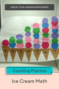 Help your child build ice cream cones as she practices her counting skillsIce Cream Math Preschool Learning Activities, Preschool Lessons, Preschool Activities, Summer Activities For Preschoolers, Toddler Painting Activities, Preschool Prep, Preschool Crafts, In Kindergarten, Numeracy