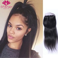 8A Straight Peruvian Closure 4*4 Bleached Knots Lace Closure Free / 2 / 3 Part Virgin Human Hair Lace Front Closure Piece Weave