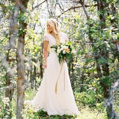modest wedding dress with cap sleeves from alta moda. -- (modest bridal gown) --