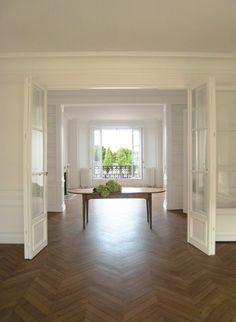 Amazing pied a terre in Paris, wood herringbone floors, french doors, terrace, built-in bookshelves, moldings & paneling