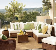 Soft throw pillows in different shades of green