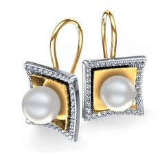 Two Tone Pearl  Diamond Earrings in 14k Gold - The 6.5mm round cultured pearl is embraced by 14 karat yellow  white square plates, studded with round cut diamonds / http://www.zoara.com