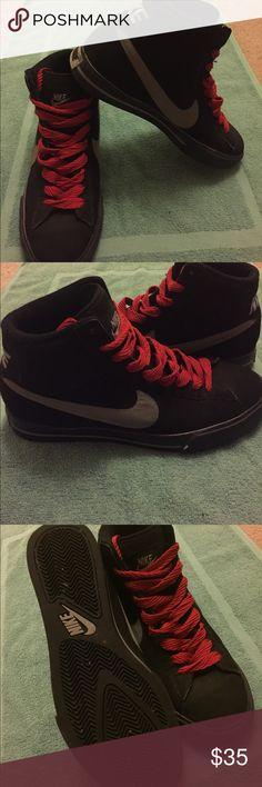 ef3f9e06db9d2 Men s Nike high top basketball shoe Black with grey Nike swish Men s high top  basketball sneaker