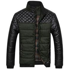 Fashion Diamond Quilted Contrast Warm Plaid Mandarin-Collar Winter Coat L-4XL 3 Colors