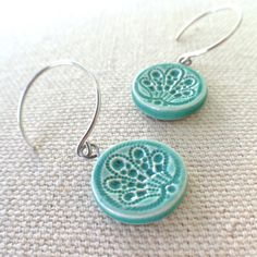 would love these as hair pins! siren earrings, pool ... handmade porcelain jewelry by Sofia Masri