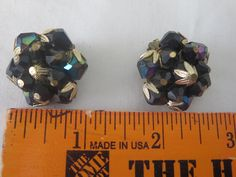 Vintage Dark Green West Germany cluster Earrings clip-on