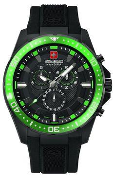 Swiss Military Hanowa 06-4212.27.007.06 - Reloj analógico de cuarzo para hombre, correa de plástico color negro (cronómetro)