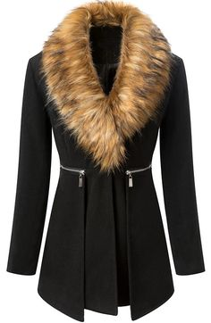 Black Fur Collar Long Sleeve Zipper Woolen Coat. Description Black coat featuring long styling,fur collar,long sleeves,uinque lapel,from collar to waist with oblique zipper design,two pockets on both of sides,back body with patched belt design on waist until below the front pockets. Fabric Woolen. Washing Wipe with a damp cloth or sponge.