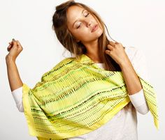 Yellow silk scarf vibrant Green and Black by DiklaLevskyDesign, $123.00