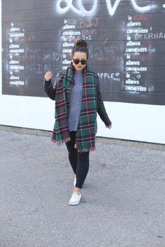 gray sweater, plaid scarf, moto jacket, black jeans, white sneakers