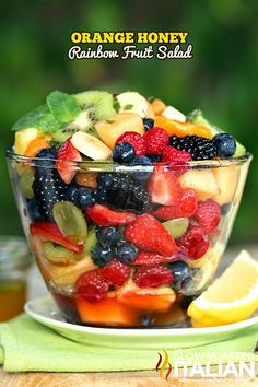 Orange Honey Rainbow Fruit Salad #fruit #salad #recipe @SlowRoasted 750g, Fruit Salad, Gourmet, Panna Cotta, Cheesecake, Strawberry Recipes, Kitchen Stuff, Dish, Cheesecake Cake