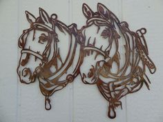 Draft Horse Head Metal Wall Art Country Rustic Home Decor - Large Draft Horse Heads Measure: Wide By Tall - Hand Made in the USA High Quality Steel Construction - Durable Copper Powder Coat Equestrian Decor, Western Decor, Metal Artwork, Metal Wall Art, Paper Cutting, Stencils, Hanging Photos, Scroll Saw Patterns, Draft Horses