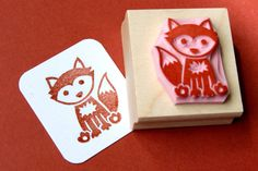 Fox Hand geschnitzte Stempel Wald Stamper von skullandcrossbuns