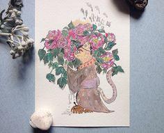 Arte originale illustrazione botanica illustrazione gatto