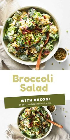 This Easy Broccoli Salad is made with bacon, cheddar cheese and a creamy mayonnaise sauce! Perfect for a quick side dish!   The Bitter Side of Sweet Appetizer Salads, Easy Appetizer Recipes, Lunch Recipes, Easy Dinner Recipes, Yummy Recipes, Appetizers, Yummy Food, Fresh Salad Recipes, Healthy Salad Recipes