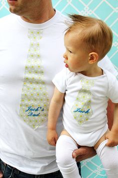 Fathers Day Gift, Personalized Set for Daddy and Baby.  Any Tie on Any Size Onesie and T-Shirt.  Sweet Photo Prop. Family Picture. via Etsy