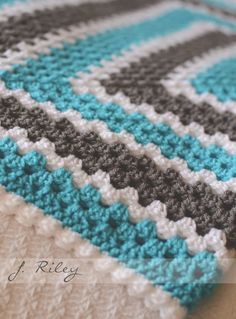 Modern Granny baby blanket in gray teal and white