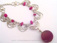 Purple Agate Stone Alpaca SIlver Necklacehttp://www.wholesaleperuvianjewelry.com