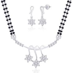 Viyari Tanirika Indian Floral Silvertone 16 Inch with 1/2 Inch Extender Mangalsutra Necklace Earrings Jewelry Set