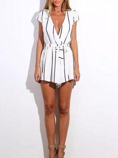White Plunge Stripe Tie Waist Cap Sleeve Romper Playsuit | Choies