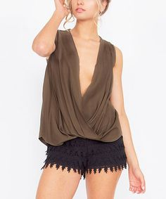 Look what I found on #zulily! Olive Crisscross Drape Top #zulilyfinds