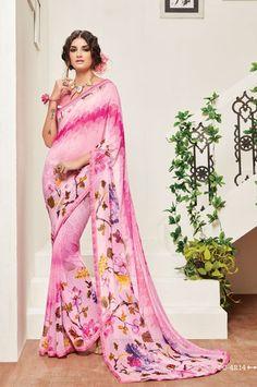 Casual Wear Digital Print Pink Georgette Saree