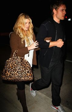 Jessica Simpson carrying Prada Cavalino Leopard Tote Bag