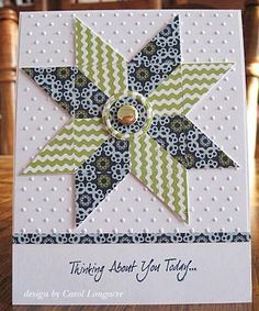 handmade quilt card ... pretty patterned papers ... Ohio Star Quilt pattern ... punched squares cut diagonally are all you need ... like the layout too ... by isabel