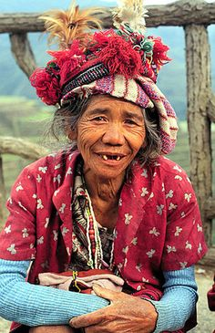 An old woman wearing traditional Ifugao clothing in Banaue. Philippines