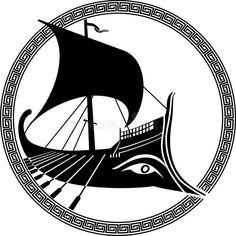 Greek Mythology Tattoos, Ship Vector, Portfolio Ideas, Boat Design, Pottery Vase, Homescreen, Archaeology, Silhouettes, Embroidery Patterns