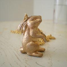 diy gold rabbit necklace