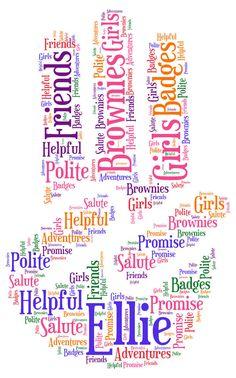 Personalised Three Finger Salute Brownie - Girls Guide - Promise Word Art | eBay