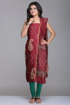Maroon Unstitched Chanderi Suit With Floral & Paisley Hand Block Print And Gold Zari Border