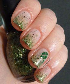 Shamrock glitter nails #2