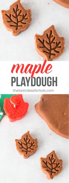 This maple scented playdough is so fun for fall! It smells like maple syrup. Kids will have fun playing and pretending to make maple cookies. via @bestideaskids