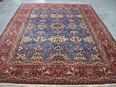 10x14 Antique Persian Oriental Fine Isfahan Hand Knotted Wool Blue Carpet Rug #PersianIsfahanTraditionalFloral