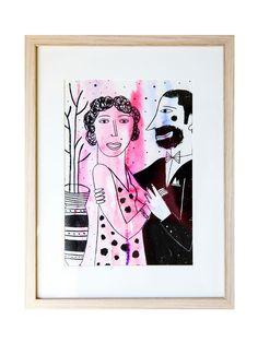Decora tu casa con ¿Bailamos?, pieza original realizada con tinta china sobre unas acuarelas recicladas realizada en papel.