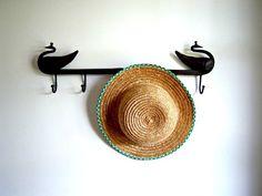 Vintage Girl's Straw Hat Green White Trim by RockySpringsVintage, $19.95