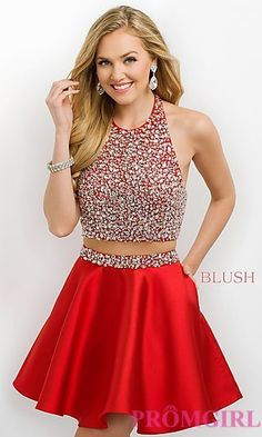 A HOT glitzy glam top with a short skirt with pockets! Short Intrigue by Blush high neck halter two piece homecoming dress with a beaded bodice.