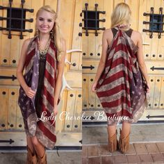 """https://instagram.com/ladycherokeeboutique RESTOCK ALERT!!! I know a lot of you lovelies requested restocks of these and more came in today!! Get em' while they're HOT!! Where the Buffalo Roam RUSTIC USA FLAG SCARF 70"""" x 40"""" This awesome scarf can be worn in so many different ways, we have tied ours into a long vest! Price: $20.00, Free Shipping  Qty:  14 Please comment """"Sold"""", State, and quantity needed, as well as your email to purchase. Also, you must let us know what state you live in…"""